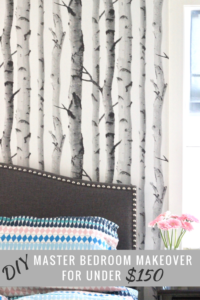 DIY easy bedroom makeover inspiration with just paint and wallpaper!