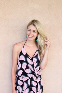 What to wear in Hawaii: Watermelon jumpsuit for Summer and tassel earrings