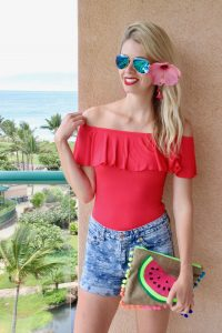 High-wasted denim shorts, off-the-shoulder ruffle bodysuit