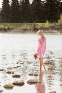 Summer style: tunic, bikini bathing suit and sunglasses