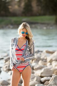 Summer beach trends: one-piece bathing suit, tunic and aviators