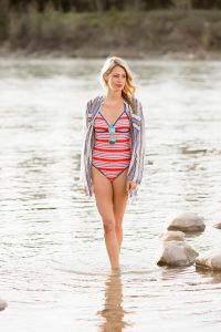 Summer style bathing suits: one-piece, aviators, tunic