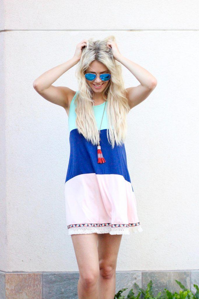 Maui Dress ideas - color block fringe mini dress from The Mint Julep Boutique