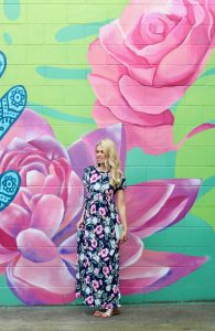 Abbotsford Wall Mural - Pink Blush Maxi Dress - navy and floral for spring fashion