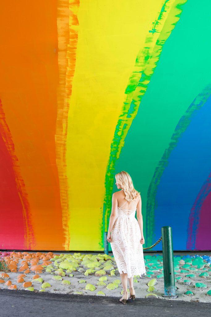White crochet lace-up dress from Chicwish - making magic under the Rainbow Bridge in Calgary, Alberta - instagrammable Calgary