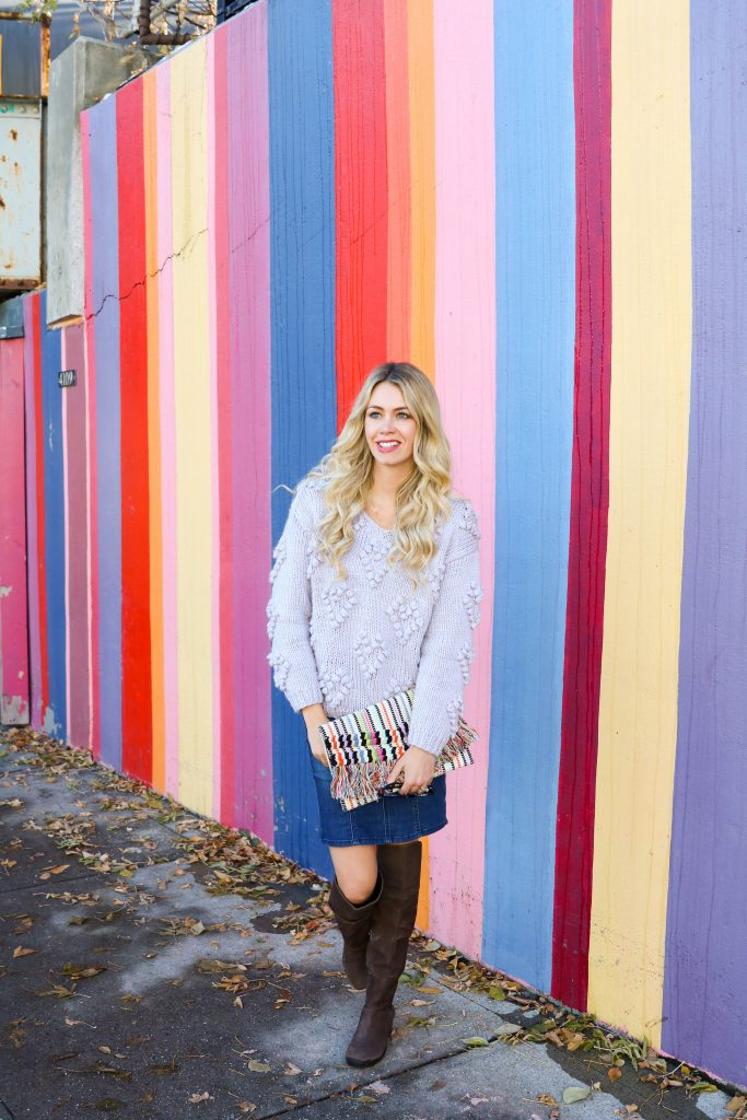 Fall Fashion - high waisted denim skirt, lavender sweater, over the knee boots - outfit style